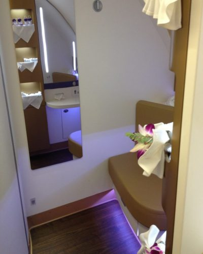 Vanity area inside the Thai Airways A380 First Class Bathroom