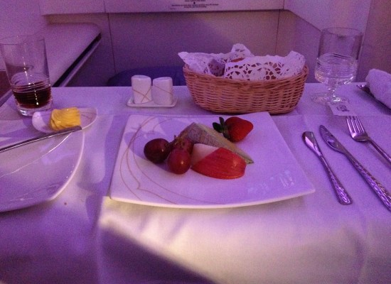 Thai Airways A380 First Class Meal Fruit Plate and Bread Basket