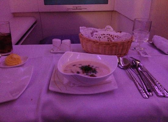 Thai Airways A380 First Class Meal White Bean Soup with Chanterelle Mushroom and Truffle Oil