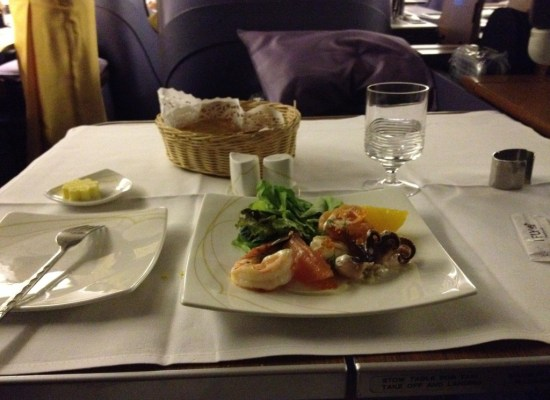 Thai Airways First Class Fresh Seafood Salad Served Onboard 747 Bangkok - Sydney