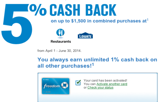 Chase Freedom Category Bonus Lowe's and Restaurants