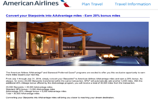 Starwood Preferred Guest 20 Airline Transfer Bonus