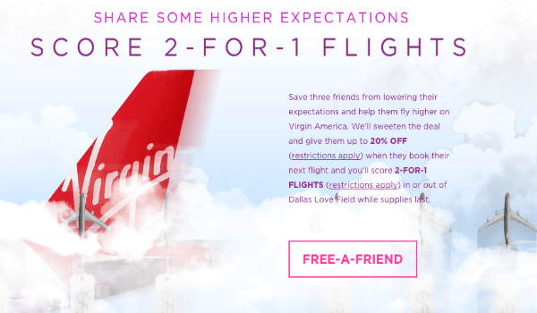 Get 2-for-1 fares to/from Dallas with Virgin America
