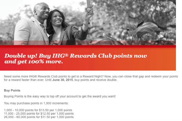 IHG Rewards Club 100 point purchase bonus
