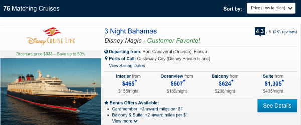 Paid rates for a Disney Cruise