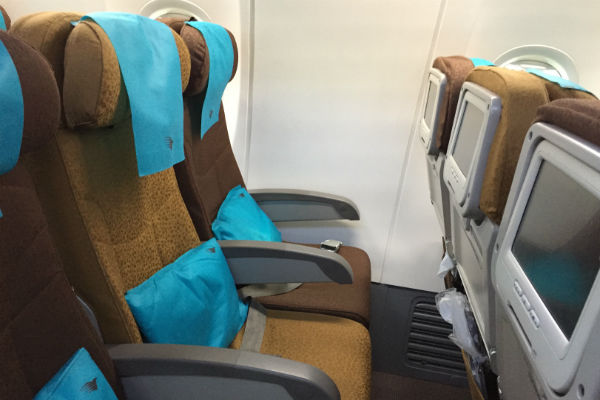 Economy class seats onboard Garuda Indonesia flight 841