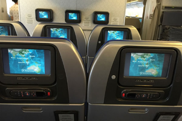 Cathay Pacific economy class cabin onboard the 777-300