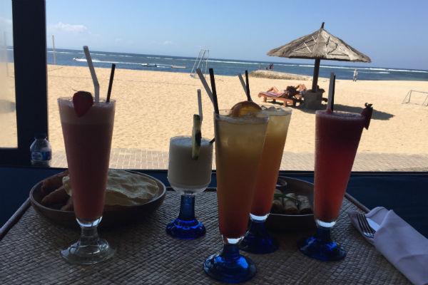 Conrad Bali Cabana drinks and snacks