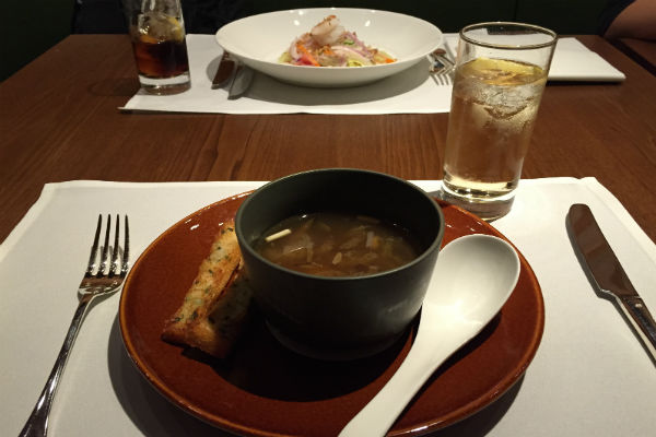 Crabmeat soup served at The Pier's restaurant