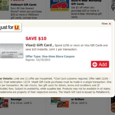 safeway just for u deal 10 off visa gift card purchase of 150 pointchaser - Buy Visa Gift Card Online Instant