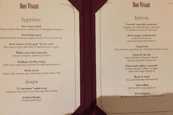 Dinner menu Hyatt Ziva Los Cabos French Restaurant