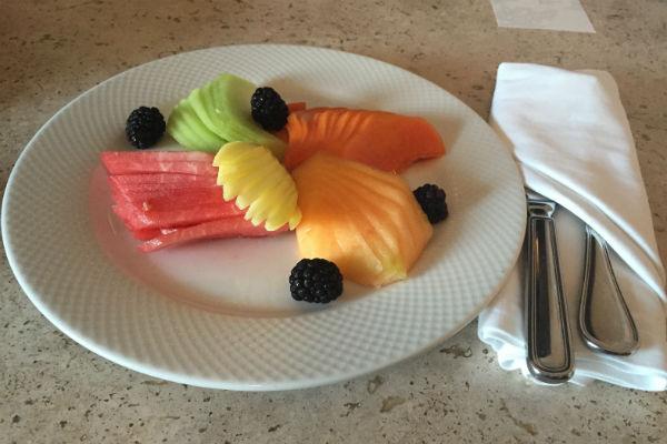 Hyatt Ziva Los Cabos room service fruit platter