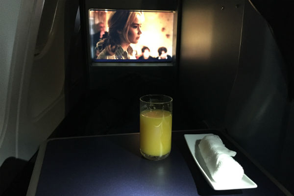 AirBerlin Business Class Orange Juice A330 San Francisco to Dusseldorf
