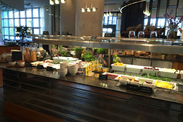 Charles Lindberg Restaurant Munich Airport Breakfast Buffet Yogurt and Cereal Station