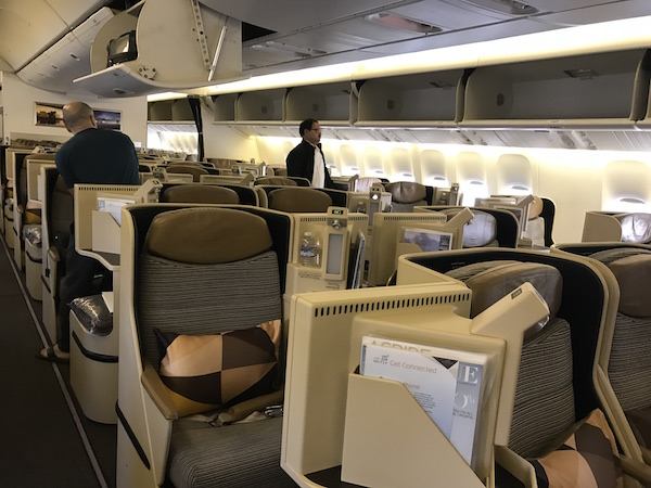 Etihad Business Class Cabin 777-200 San Francisco to Abu Dhabi