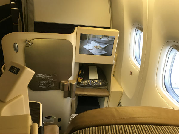 Etihad Airways Business Class Seat 1K on flight 182 San Francisco to Abu Dhabi