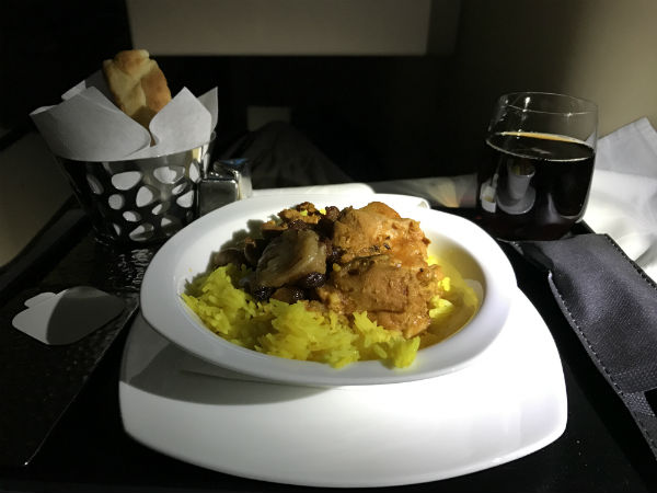 Etihad Airways Chicken Machboos business class meal Flight 182 from San Francisco to Abu Dhabi