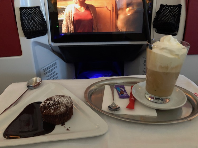 Austrian Business Class Iced Coffee and Chocolate Cake