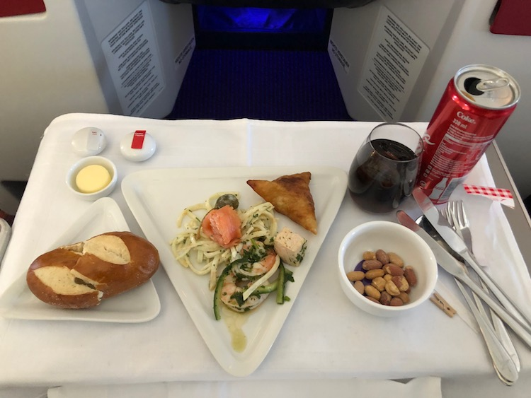 Austrian Airlines business class review pretzel bread and salad
