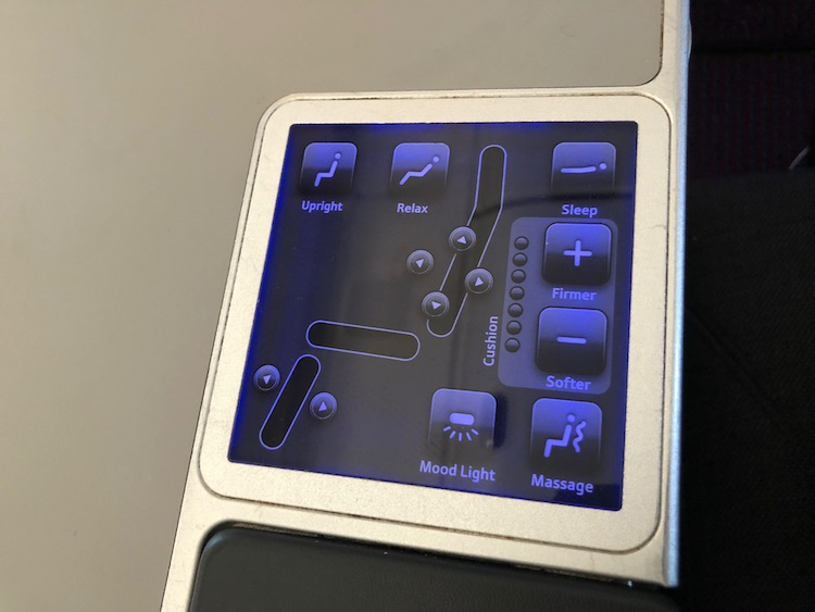 Review: Austrian Airlines Business Class seat controls