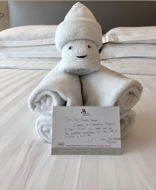 Marriott Yogyakarta welcome note and towel animal