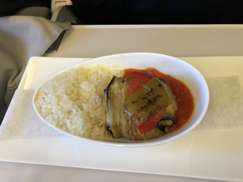 Turkish Airlines Business Class Review meal VIE-IST lamb and rice