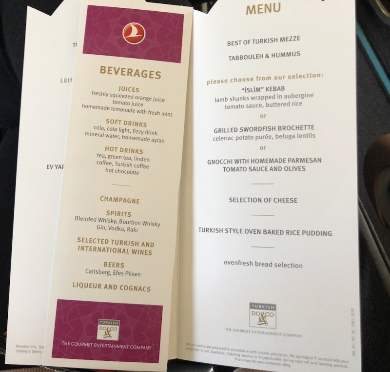 Turkish Airlines Business Class Review menu Vienna to Istanbul