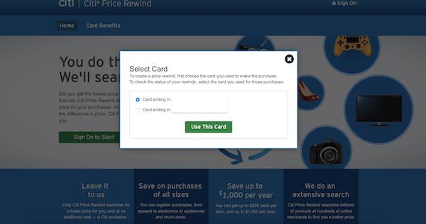 Citi Price Rewind landing page