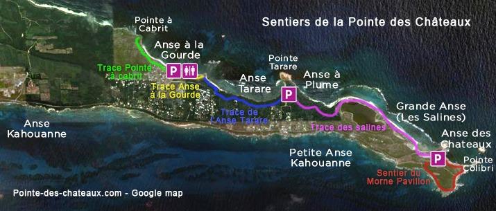 carte des traces et sentiers de la pointe des chateaux