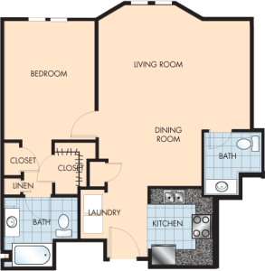 1 Bed / 1½ Bath / 984 sq ft / Rent: $1,475