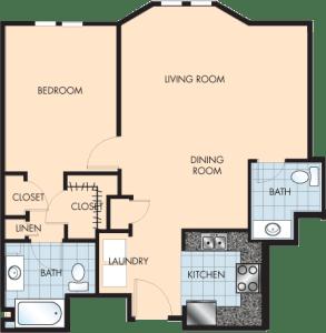 1 Bed / 1½ Bath / 984 sq ft / Rent: $1,475