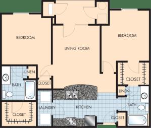 2 Bed / 2 Bath / 1,110 sq ft / Rent: $1,565
