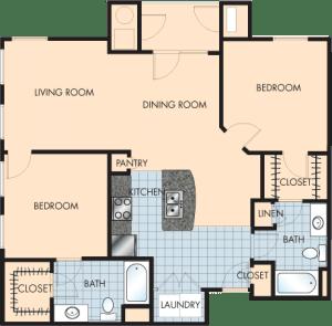 2 Bed / 2 Bath / 1,204 sq ft / Rent: $1,685