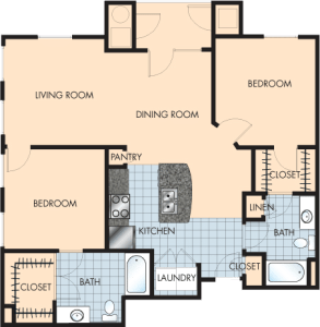 2 Bed / 2 Bath / 1,215 sq ft / Rent: $1,715