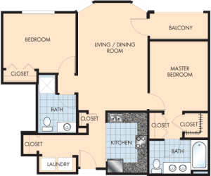 2 Bed / 2 Bath / 1,260 sq ft / Rent: $1,655