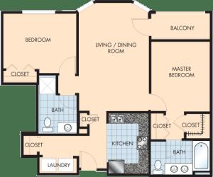 2 Bed / 2 Bath / 1,260 sq ft / Rent: $1,655