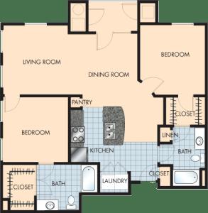 2 Bed / 2 Bath / 1,262 sq ft / Rent: $1,640