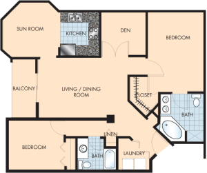 2 Bed / 2 Bath / 1,393 sq ft / Rent: $1,895