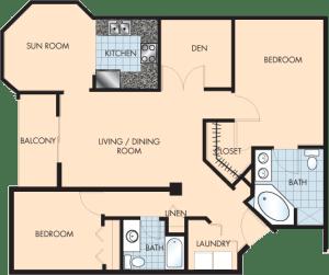 2 Bed / 2 Bath / 1,393 sq ft / Rent: $1,895