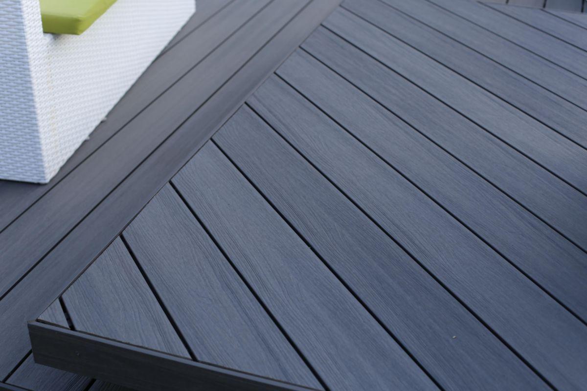 FIBERDECK  Lame de terrasse bois composite coextrud Patio  gris  L 360 m  225x145 mm