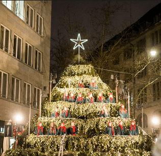 Live Singing Christmas Tree in Zurich, Switzerland
