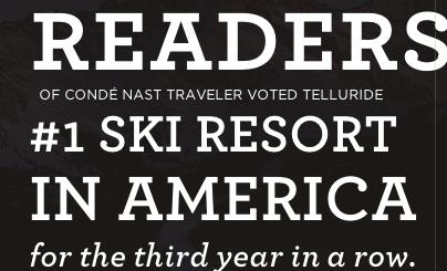 Telluride, CO, photo courtesy of Telluride Ski Resort