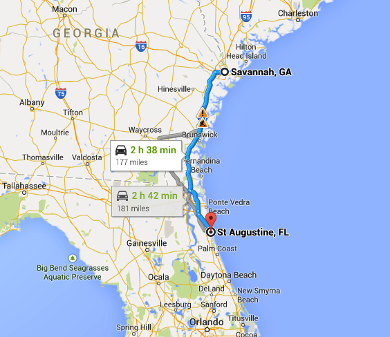 Map - Savannah GA to St Augustine FL