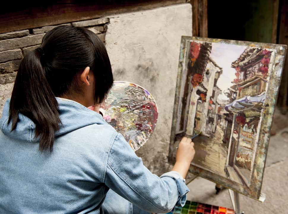 high school art students, Xitang, China