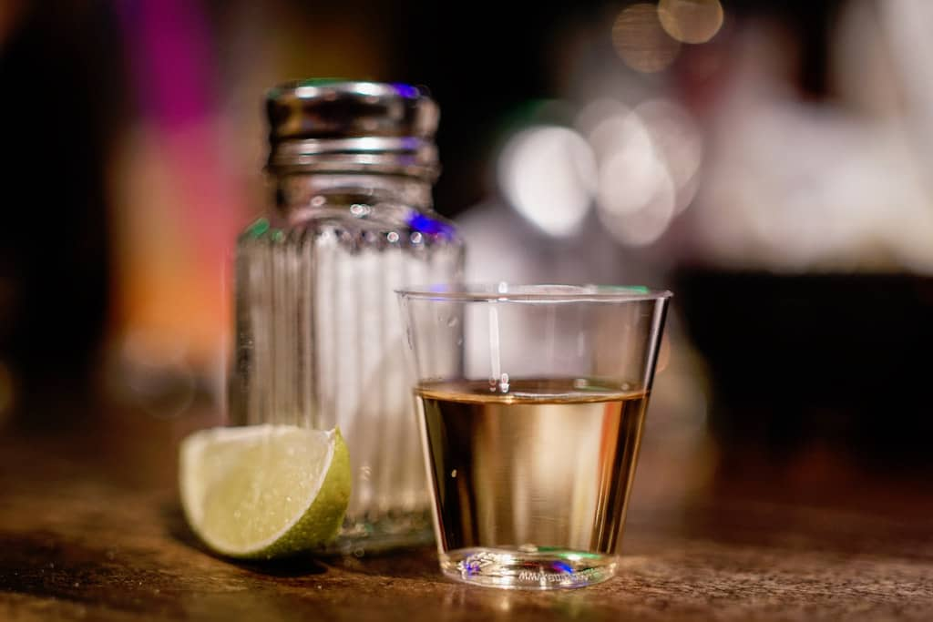 Tequila shot for drinks, drinking tequila shot in Mexico