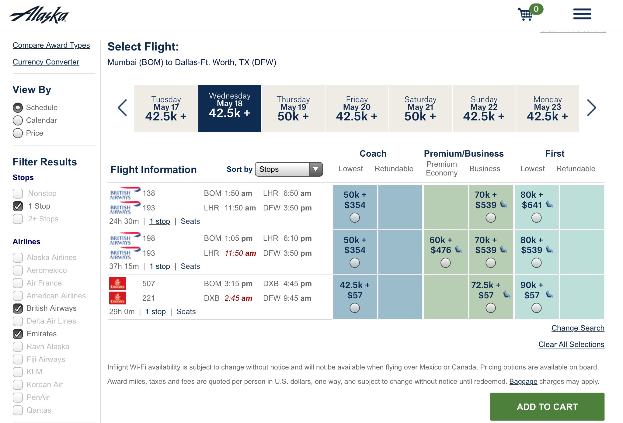 Alaska Airlines Emirates First Business Class Awaard Chart Booking