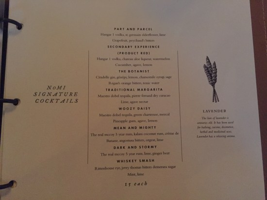 park hyatt chicago review hotel nomi menu