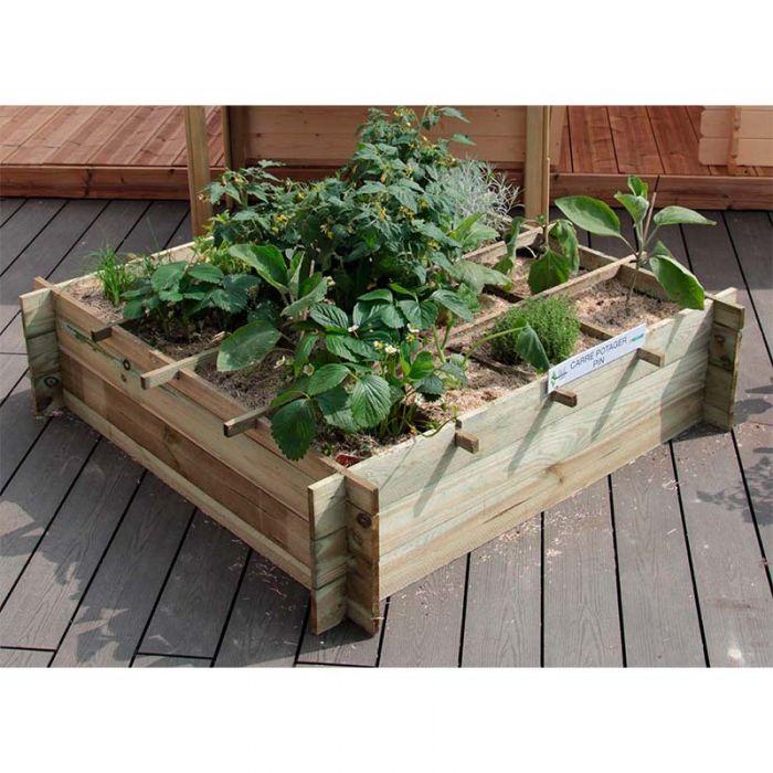 carre potager en bois pin egine 120 x 120 x 30 cm