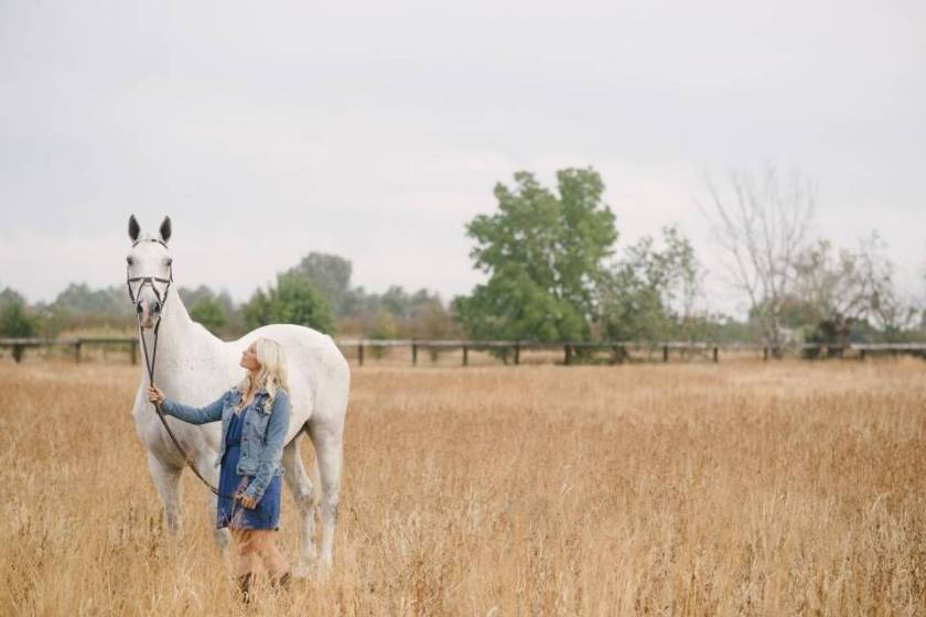 Armani and Katie in field