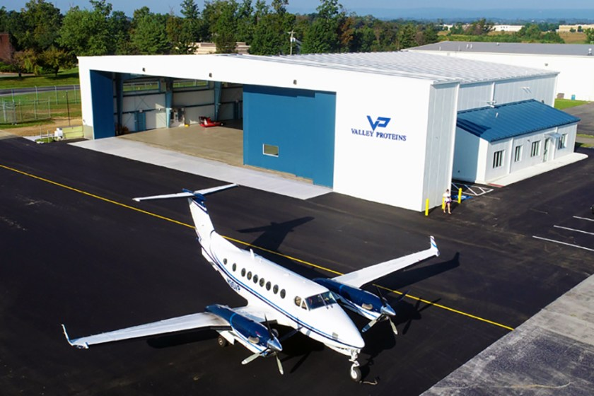 One of Valley Proteins' private jets, the one pictured is a Hawker Beechcraft King Air 300 with custom-built hangar. Their other jet (not shown) is a Hawker Beechcraft 900XP.